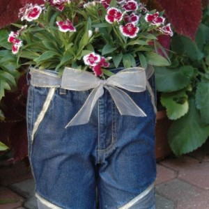 Blue jeans shorts planter